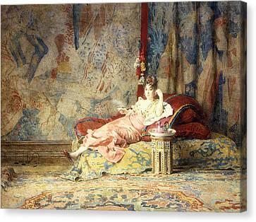 Harem Beauty Canvas Print by Alexandre Louis Leloir