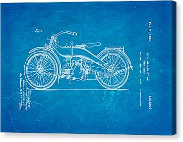 Harley Davidson 1919 Twin Cylinder Model Patent Art  Blueprint Canvas Print by Ian Monk