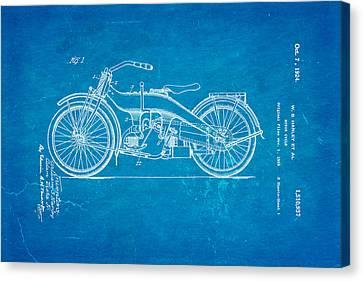 Harley Davidson 1919 Twin Cylinder Model Patent Art  Blueprint Canvas Print by Ian Monk