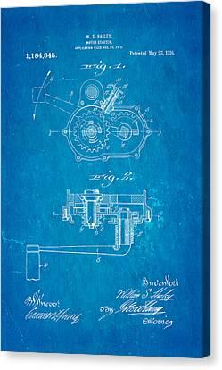 Harley Davidson Kick Starter Patent Art 1916 Blueprint Canvas Print by Ian Monk