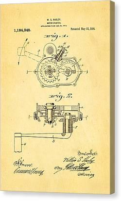 Harley Davidson Kick Starter Patent Art 1916 Canvas Print by Ian Monk