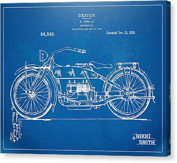 Harley-davidson Motorcycle 1919 Patent Artwork Canvas Print by Nikki Marie Smith