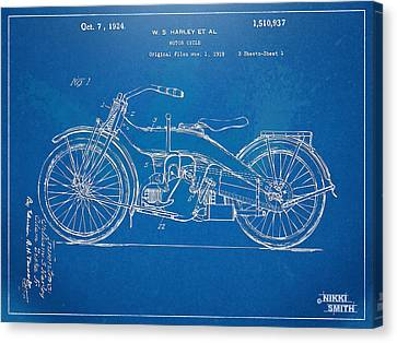 Harley-davidson Motorcycle 1924 Patent Artwork Canvas Print by Nikki Marie Smith