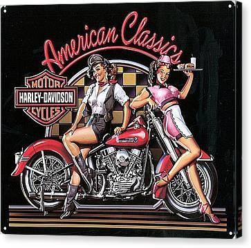 Harley Davidson Old School Ad Canvas Print by Marvin Blaine