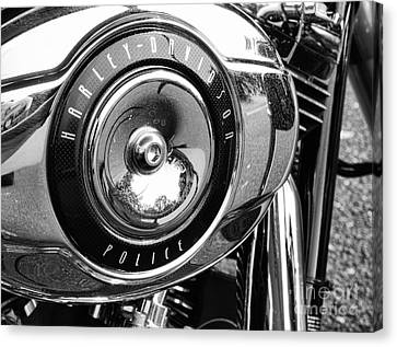 Harley Davidson Police Motorcycle Canvas Print by Paul Ward