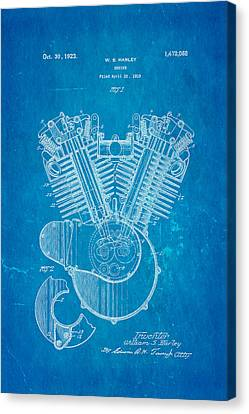 Harley Davidson V Twin Engine Patent Art 1923 Blueprint Canvas Print by Ian Monk