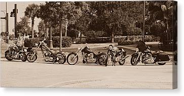 Harley Line Up Canvas Print by Laura Fasulo