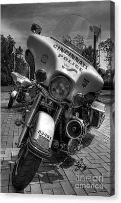 Harleys In Cincinnati Bw Canvas Print by Mel Steinhauer