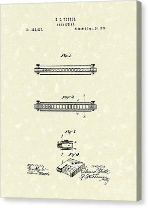 Harmonica 1876 Patent Art Canvas Print by Prior Art Design