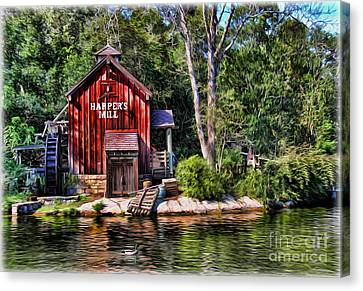 Harper's Mill - Digital Painting  Canvas Print by Lee Dos Santos