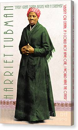 Harriet Tubman 20140210v1 With Text Canvas Print by Wingsdomain Art and Photography