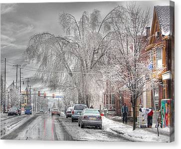Harrisburg On Ice Canvas Print by Lori Deiter