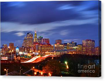 Hartford Skyline At Night Canvas Print by Jon Holiday