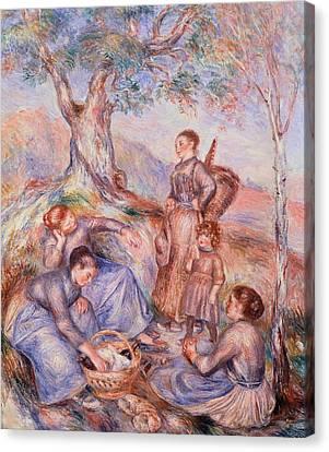 Harvesters Breakfast Canvas Print by Pierre-Auguste Renoir