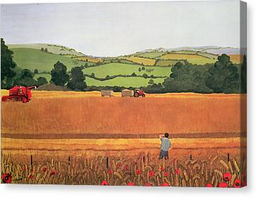 Harvesting In The Cotswolds Canvas Print by Maggie Rowe