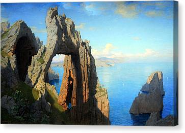 Haseltine's Natural Arch At Capri Canvas Print by Cora Wandel