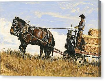 Hauling Hay Canvas Print by Don  Langeneckert
