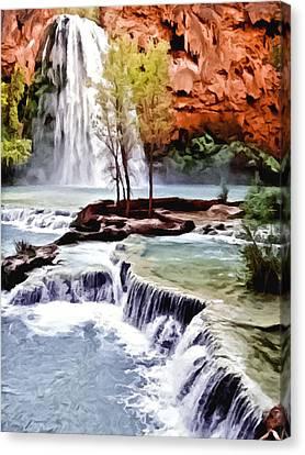 Havasau Falls Painting Canvas Print by Bob and Nadine Johnston