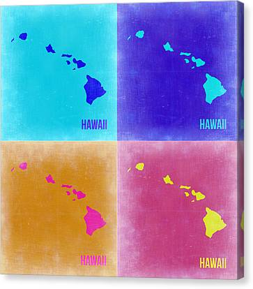 Hawaii Pop Art Map 2 Canvas Print by Naxart Studio