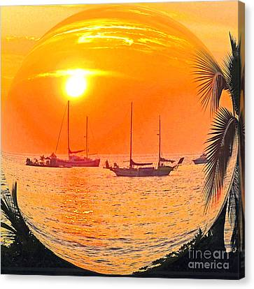 Hawaii Sunset In A Bubble Canvas Print by Jerome Stumphauzer