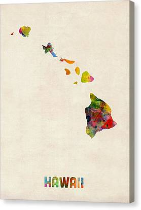 Hawaii Watercolor Map Canvas Print by Michael Tompsett