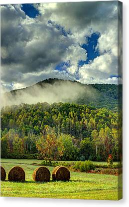 Hay Bales In The Morning Canvas Print by Michael Eingle