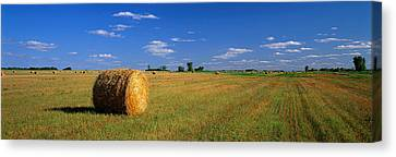 Hay Bales, South Dakota, Usa Canvas Print by Panoramic Images
