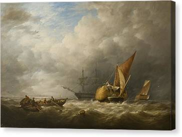 Hay Barges In The Thames Estuary Canvas Print by Alfred Herbert
