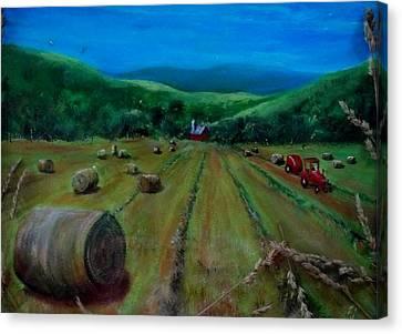 Hay Harvest Canvas Print by Joan Mace