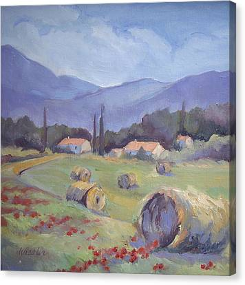 Haybales And Poppies Of Provence Canvas Print by Linda  Wissler