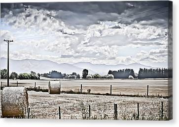 Haybales Fields Trees And Clouds Canvas Print by Shivonne Ross