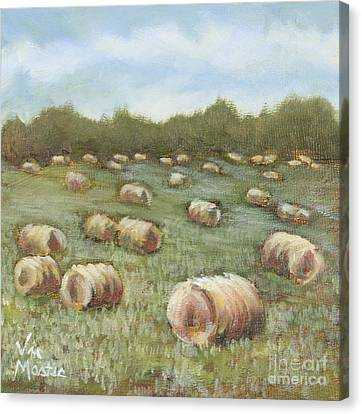 Haybales In The Field Canvas Print by Vic  Mastis