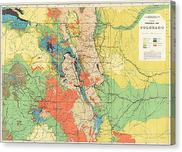 Hayden's General Geological Map Of Colorado - 1881 Canvas Print by Eric Glaser