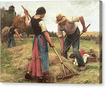 Haymaking Canvas Print by Julien Dupre