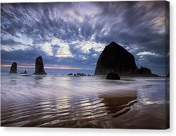 Haystack Rock At Sunset Canvas Print by Andrew Soundarajan
