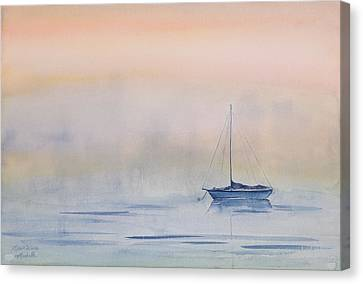 Hazy Day Watercolor Painting Canvas Print by Michelle Wiarda