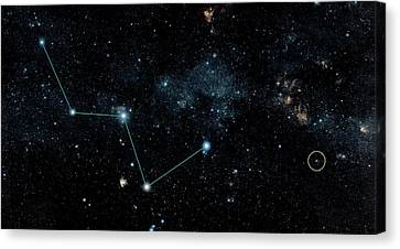 Hd 219134 And Cassiopeia Canvas Print by Nasa/jpl-caltech/dss