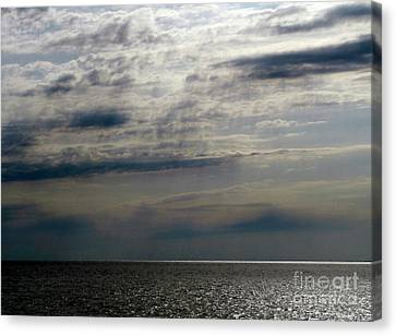 Hdr Storm Over The Water  Canvas Print by Joseph Baril