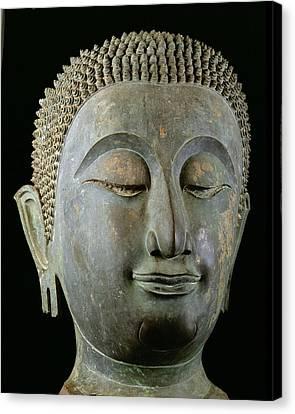 Head Of A Giant Buddha  Canvas Print by Thai School