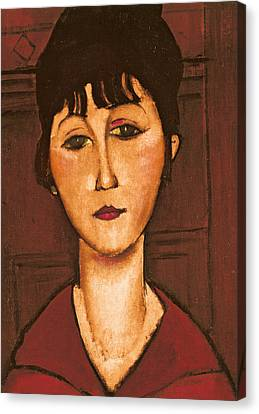 Head Of A Girl Canvas Print by Amedeo Modigliani