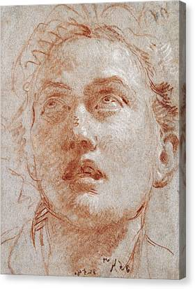 Head Of A Man Looking Up Canvas Print by Giovanni Battista Tiepolo