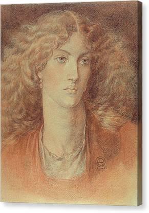 Head Of A Woman Called Ruth Herbert Canvas Print by Dante Charles Gabriel Rossetti