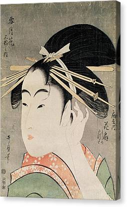 Head Of A Woman Colour Woodblock Print Canvas Print by Kitagawa Utamaro