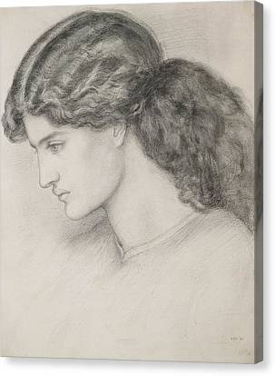 Head Of A Woman Canvas Print by Dante Gabriel Charles Rossetti