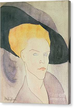 Head Of A Woman Wearing A Hat Canvas Print by Amedeo Modigliani