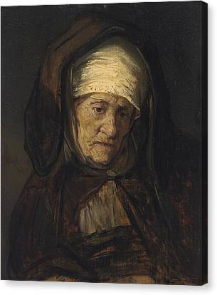 Head Of An Aged Woman Canvas Print by Rembrandt
