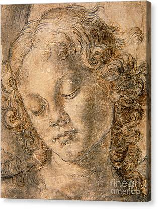 Head Of An Angel Canvas Print by Andrea del Verrocchio