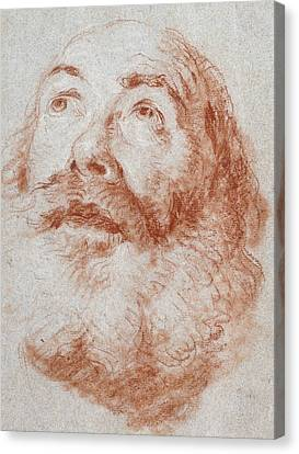 Head Of An Old Man Looking Up Canvas Print by Giovanni Battista Tiepolo