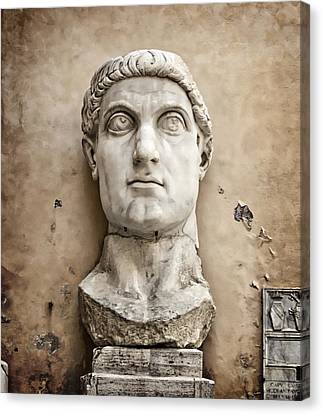 Head Of Constantine Canvas Print by Joan Carroll
