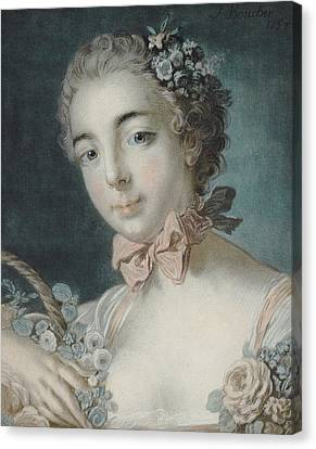 Head Of Flora Canvas Print by Francois Boucher
